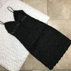 Black Scalloped Lace Ruffle Little Black Dress